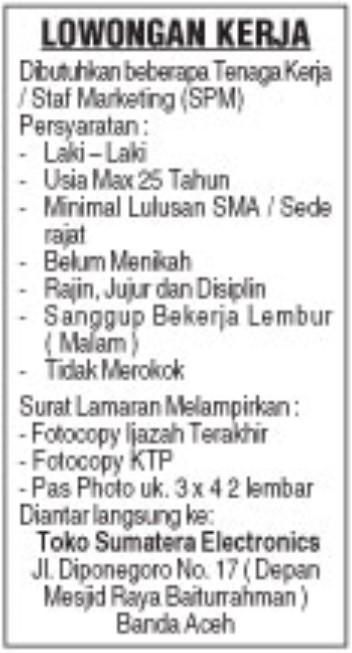 Lowongan Kerja Toko Sematera Elektronics Karir Aceh