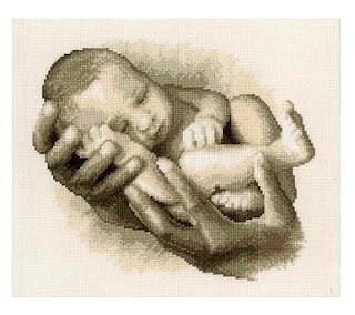 Schema punto croce nascita - neonato