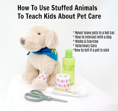 How to use stuffed animals to teach children about pet care & pet safety.   #dogs #petcare #healthydogs #pethealth