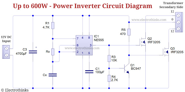 Schematic of 600W Power Inverter Circuit with 555 Timer