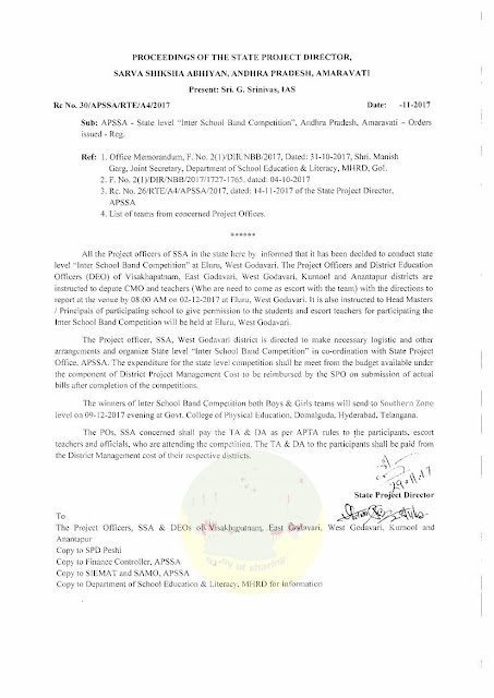 Rc No. 30    APSSA - State level Inter School Band Competition, Andhra Pradesh, Amaravati