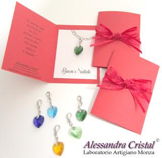 ciondoli cuore colorato cristallo regalo Natale