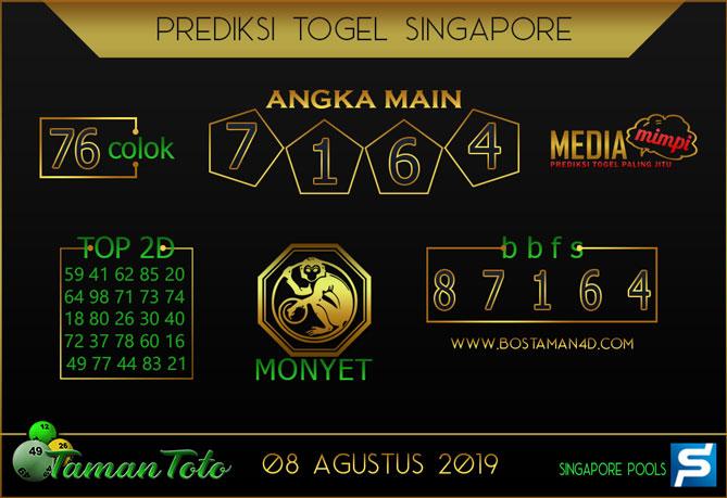 Prediksi Togel SINGAPORE TAMAN TOTO 08 AGUSTUS 2019
