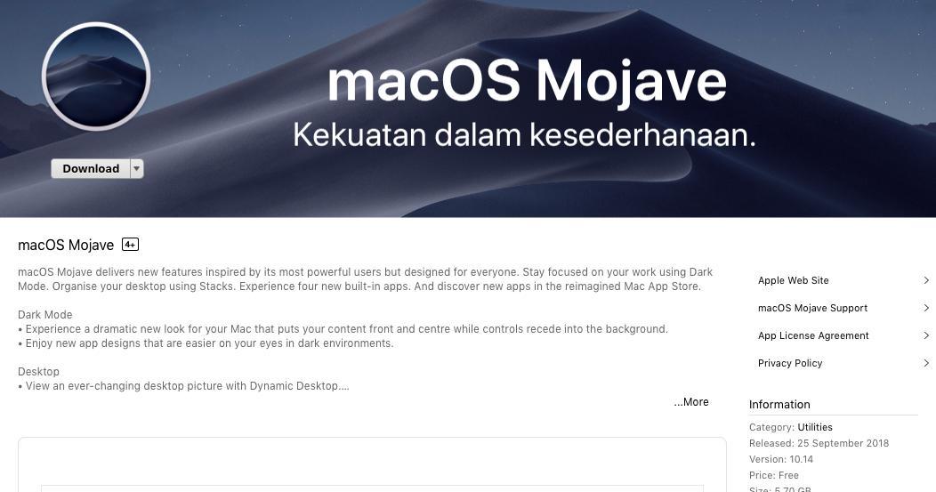 Pengalaman Mencoba macOS Mojave