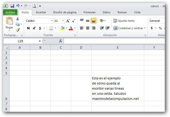 Escribir varias lineas en una misma celda de excel for Espectaculo que resulta muy aburrido crucigrama
