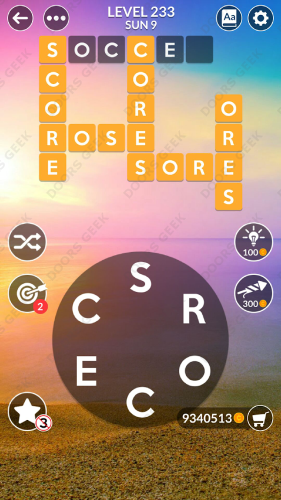 Wordscapes Level 233 answers, cheats, solution for android and ios devices.