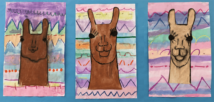Beautiful chalk pastel llama drawings by primary grade students. These books tie in perfectly with the Llama series by Anna Dewdney.