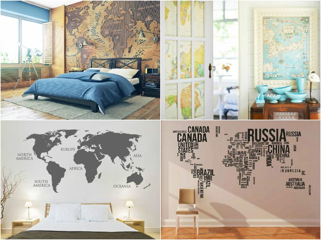 Decora o papel de parede para quartos e onde comprar - Papel pared mapa mundi ...