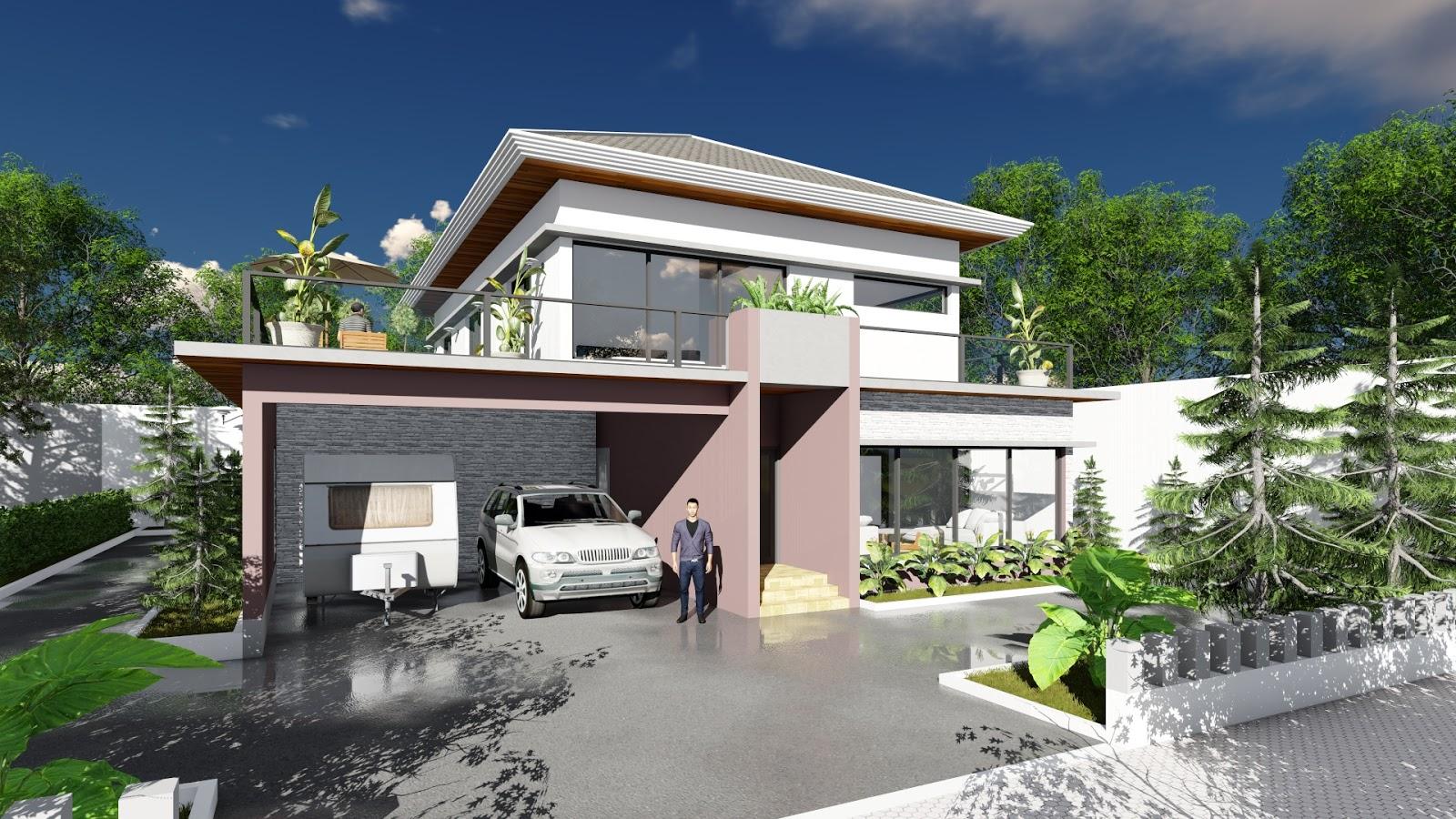 Sketchup modeling modern 3 bedroom villa design size for Modern 3 bedroom house