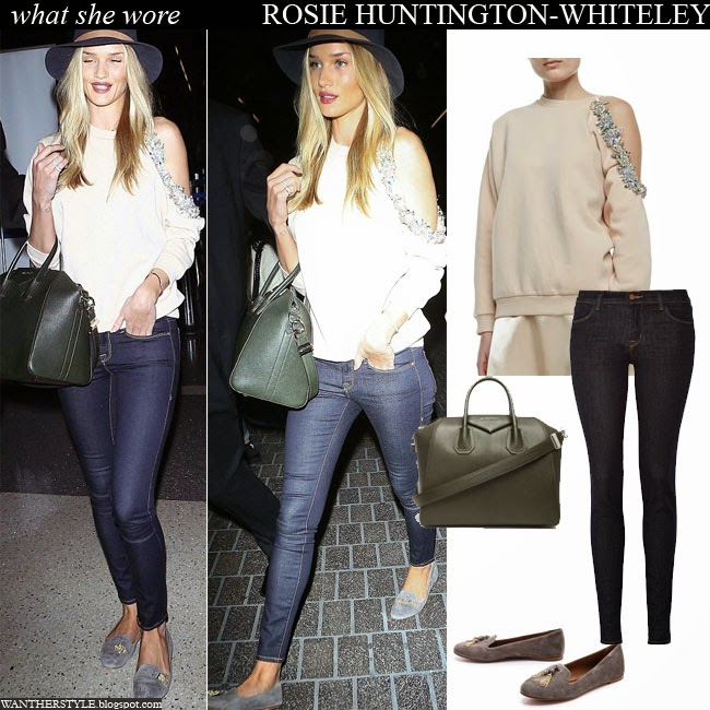 WHAT SHE WORE  Rosie Huntington-Whiteley in bejeweled shoulder ... ddd7cd40404c4