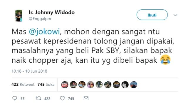 Bukan Pendukung Jokowi Dilarang Lewat Tol Baru, Twit Ir. Jhonny Widodo Jadi Perbincangan