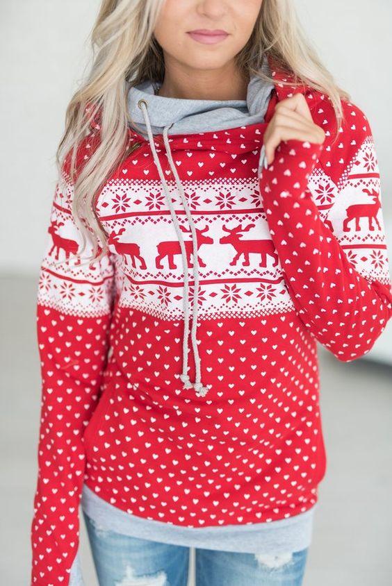 red christmas printed hoodie