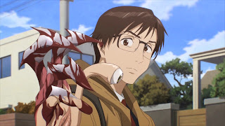 Shinichi Izumi i jego pasożyt Migi z anime Kiseijuu