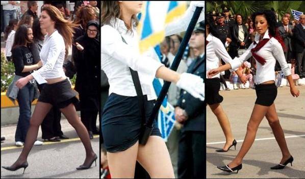 Παρέλαση... πασαρέλα! Οργισμένοι οι πολίτες με τις «ανύπαρκτες» φούστες των μαθητριών! (photos)