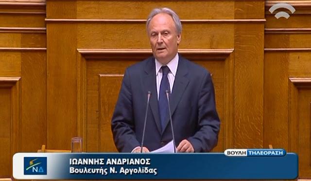 Νέα παρέμβαση Ανδριανού στη Βουλή για τη συνεχή καθυστέρηση της ολοκλήρωσης του  δικτύου Αναβάλου σε Κουτσοπόδι, Μυκήνες, Μοναστηράκι, Φίχτια