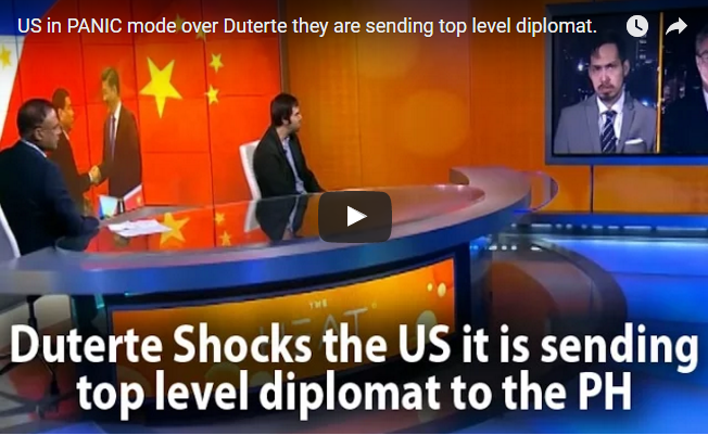 WATCH:US in PANIC mode over Duterte they are sending top level diplomat to fix the issue