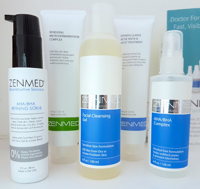 Zenmed AHA/BHA Refining Scrub, Renewing Microdermabrasion Complex, Facial Cleansing Gel, Derma Cleanse Acne Mask & Spot Treatment and AHA/BHA Complex