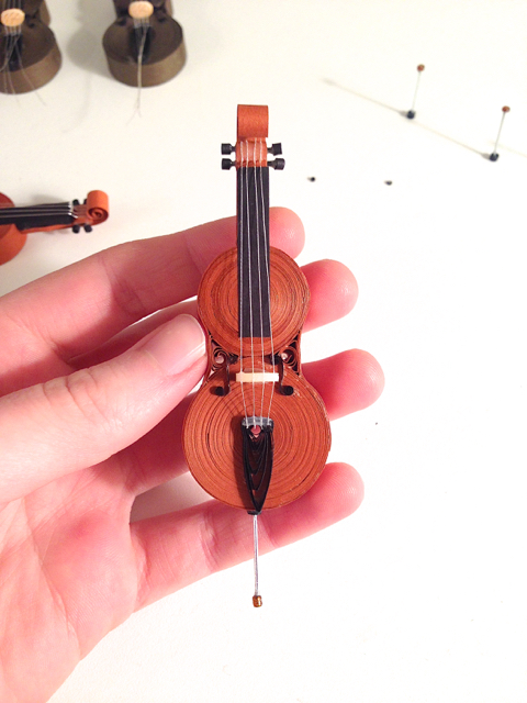 miniature quilled cello