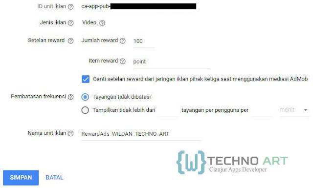 WildanTechnoArt- Mengatur Setelan Unit Iklan Rewarded Ads