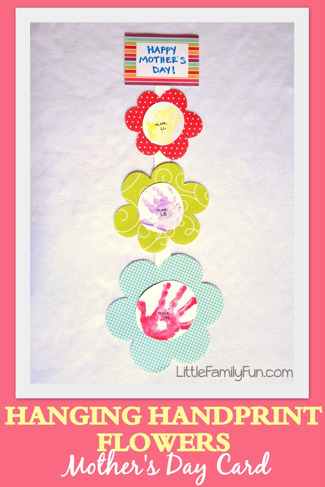 Little Family Fun Hanging Handprint Flowers Mother S Day Card