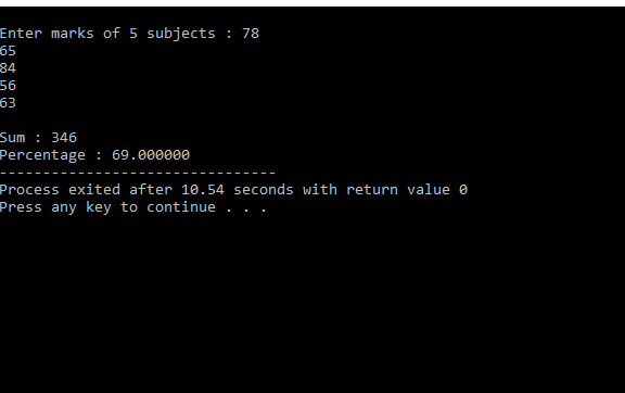 C Program For Calculate Percentage Of 5 Subjects
