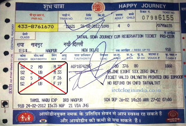 railway ticket with coach number and seat number.