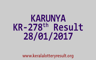 KARUNYA KR 278 Lottery Results 28-01-2017