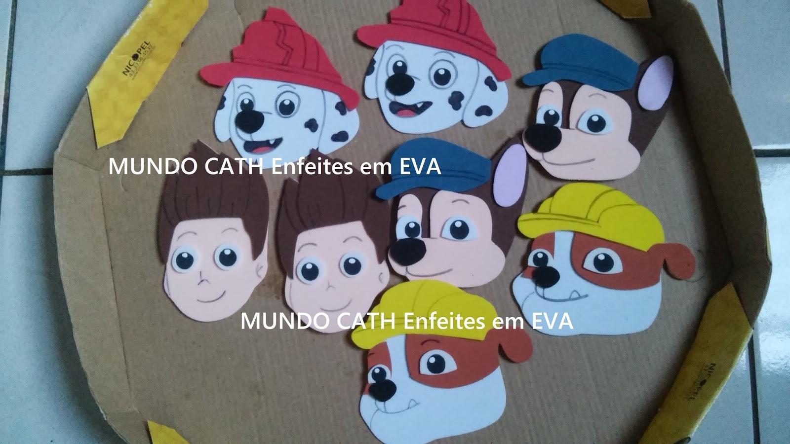 Mundo cath enfeites em eva apliques carinhas patrulha canina - Apliques infantiles de pared ...