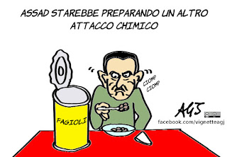 Assad, USA, armi chimiche, gas, siria, vignetta, satira