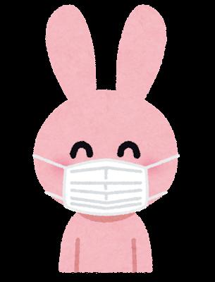 マスクを付けたウサギのキャラクター