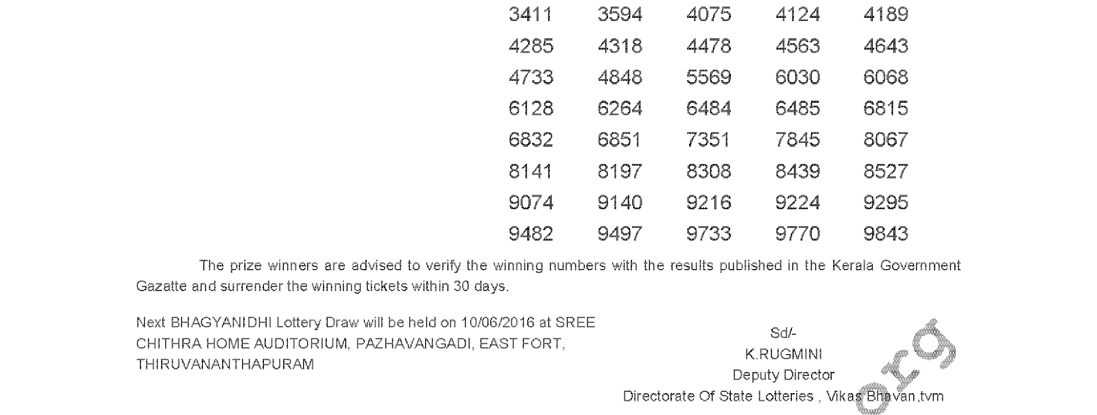 BHAGYANIDHI BN 240 Lottery Results 3-6-2016