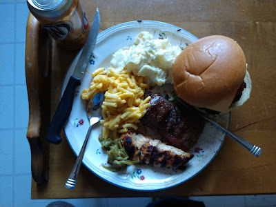 Labor Day cook-out grilled macoroni and cheese hamburger steak mashed potatos