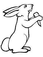 Realistic Rabbit Eating Carrot Printable Coloring Sheet