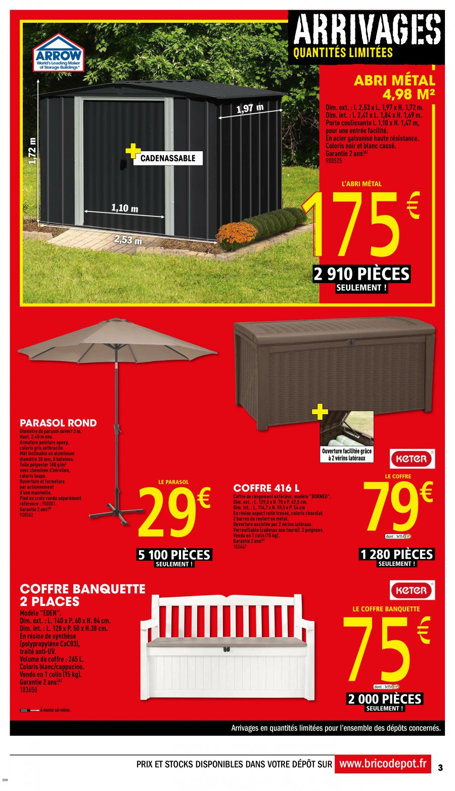 Catalogue brico d p t 07 au 22 avril 2017 catalogue promo for Coffre jardin brico depot