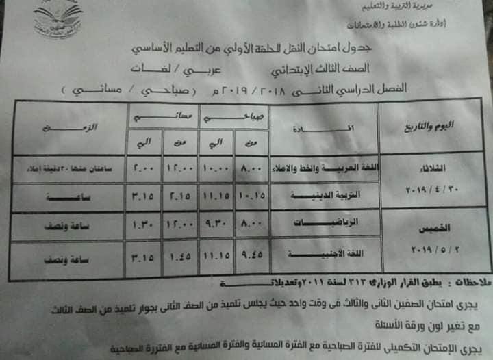 جداول امتحانات آخر العام الترم الثانى محافظة القليوبية جميع الصفوف 2019