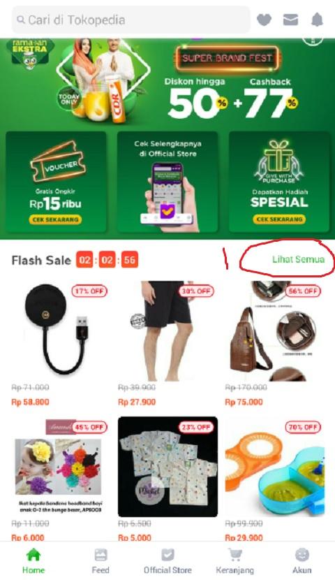 Klik Lihat Semua Pada Menu Flash Sale Promo Ramadhan di Tokopedia