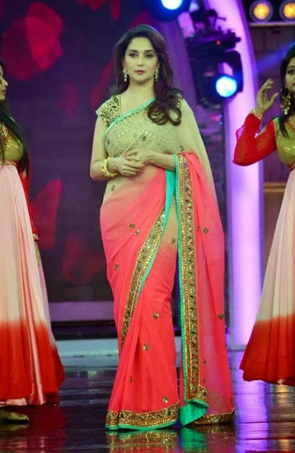 Madhuri Dixit in Pink And Cream Dual Color Saree