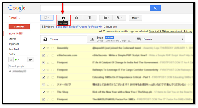 how to archive emails in gmail by date