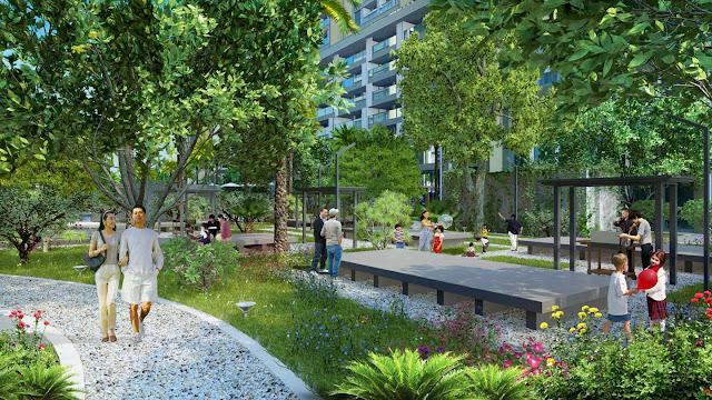 Vườn cây xanh tại dự án Louis City