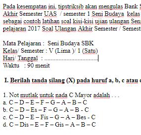 Soal-Ujian-Ulangan-UAS-SBK-Seni-Budaya-kelas-5-SD-semester-1