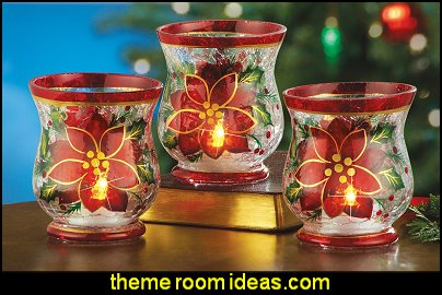 Christmas Poinsettia Candle Holders - Set of 3
