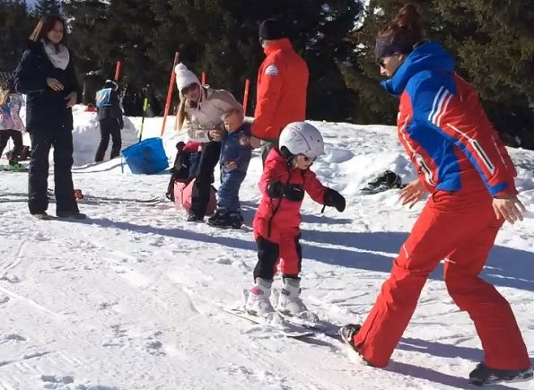 Princess Charlene is currently having a winter holiday with her twins. Princess Gabriella's first time on skis. Winter Holiday at Gstaad Ski Resort