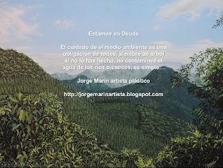 Paisaje oleo sobre lienzo, Jorge Marin pintor colombiano