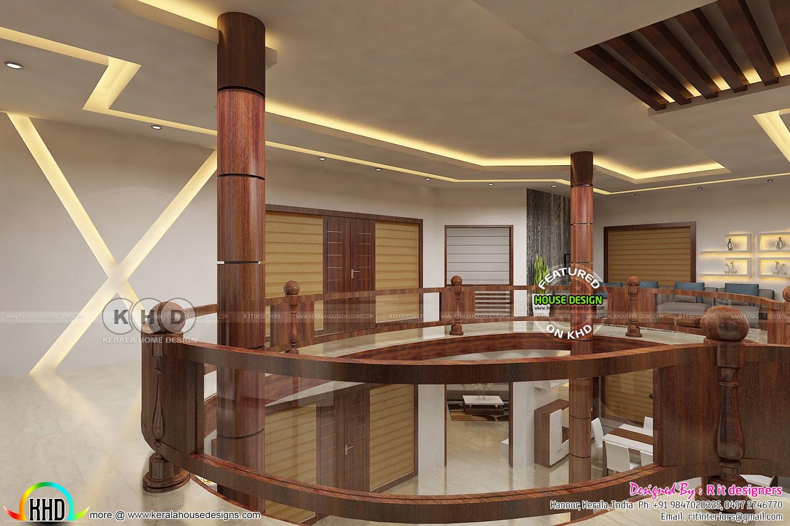 N Single Home Elevation : Upper floor interior designs by rit interiors kerala