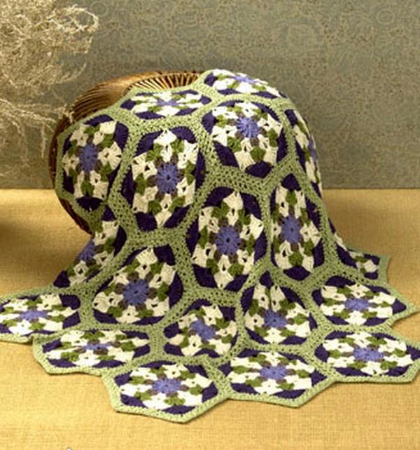 Crochet Throw Blanket - Hexagon Crochet Motif - hekle teppe