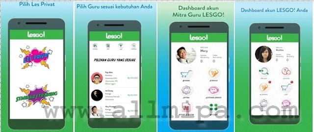 Tampilan pada aplikasi Lesgo!