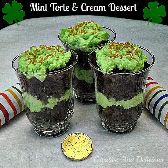 Mint Torte and Cream Dessert ~ gooey and creamy in one dessert! #MintTorte #StPatricks #Desserts #LayeredDesserts