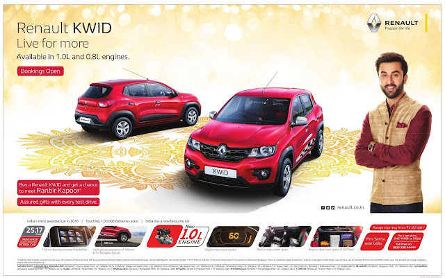 Renault kwid buy now and get a chance to meet Rannbir Kapoor. Assured gift with every test drive. Now with 1.0 liter engine. Bookings open | Dasara, Dasshera, Diwali festival offers, discounts, low emi, low rate of interest, Zero down payment offers