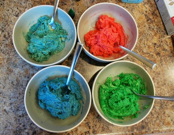 cookie dough in different colors