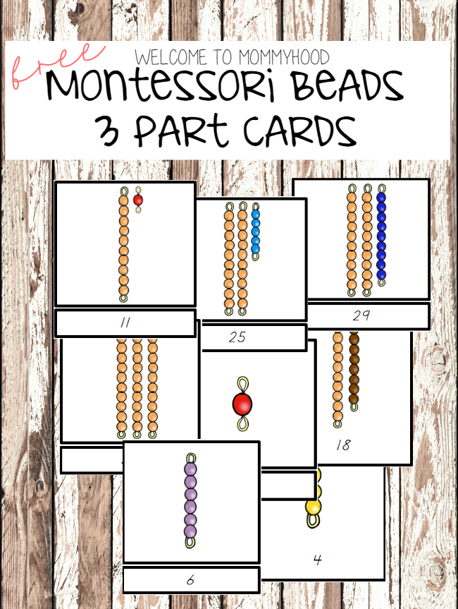 Montessori activities: montessori beads 3 part cards by Welcome to Mommyhood #montessori, #montessoriactivities, #preschool, #preschoolactivities